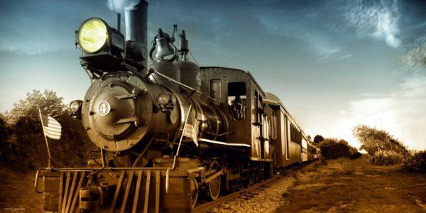 Schreibtischunterlage groß Lokomotive schwarz aus Vinyl