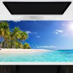 Schreibtischunterlage groß Palmen am Meer aus Vinyl