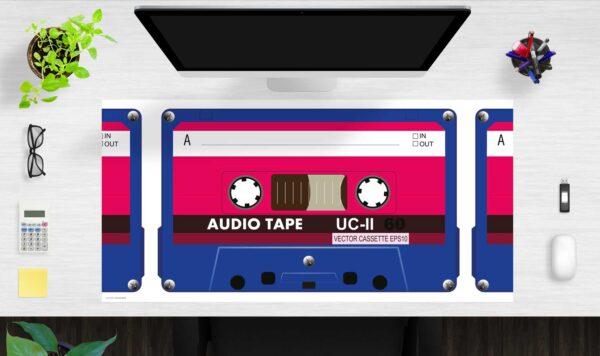 Schreibtischunterlage groß Kassette aus Vinyl