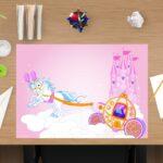 Schreibtischunterlage Mädchen Weiße Pferde aus Vinyl