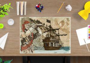 Schreibtischunterlage für Kinder, Pirat, aus Vinyl