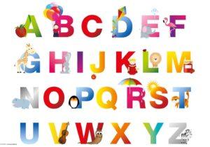 Schreibtischunterlage für Kinder, ABC, aus Vinyl