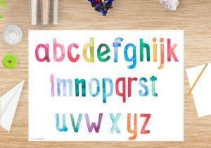 Schreibtischunterlage abc für Kinder und Schüler aus Vinyl