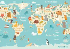 Schreibtischunterlage Weltkarte für Kinder aus Vinyl