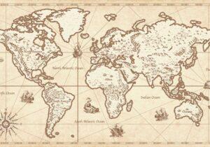 Schreibtischunterlage Weltkarte retro aus Vinyl