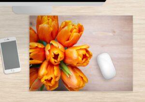 Mousepad groß Orangene Tulpen aus Vinyl