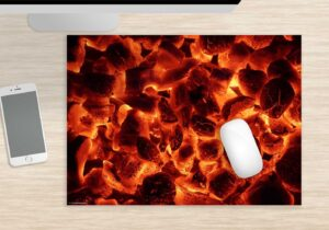 Mousepad groß Glühende Grillkohle aus Vinyl