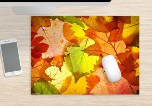 Mousepad groß Bunte Blättervielfalt aus Vinyl
