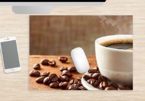 Mousepads groß Dampfende Kaffeetasse aus Vinyl