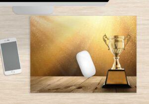 Mousepad groß Pokal gold aus Vinyl