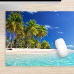 Mousepad Palmen am Meer groß aus Vinyl