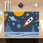 Schreibtischunterlage für Kinder, Weltraum, aus Vinyl
