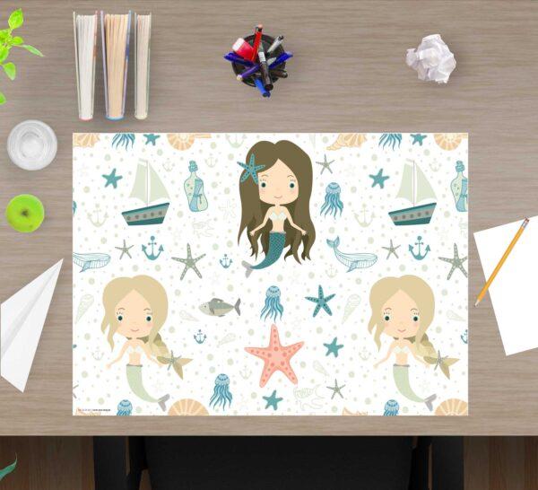 Schreibtischunterlage Meerjungfrauen, für Mädchen, aus Vinyl
