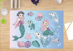 Schreibtischunterlage Meerjungfrauen unter Wasser, für Mädchen, aus Vinyl