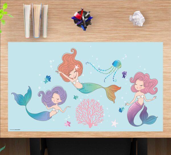 Schreibtischunterlage drei Meerjungfrauen, für Mädchen, aus Vinyl