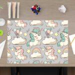 Schreibtischunterlage Süße Einhörner, aus Vinyl