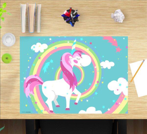 Schreibtischunterlage Einhorn mit Regenbogen, für Kinder, aus Vinyl