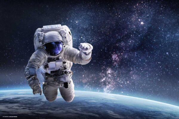 Schreibtischunterlage Astronaut im Weltall, aus Vinyl