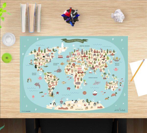 Schreibtischunterlage Weltkarte, für Kinder, aus Vinyl