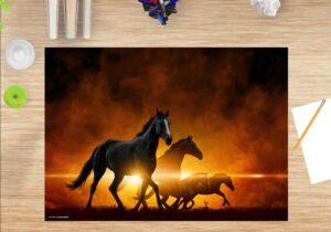 Schreibtischunterlage - Schwarze Pferde bei Sonnenaufgang - aus Vinyl