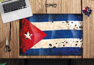 Schreibtischunterlage - Flagge Kuba retro - aus Vinyl