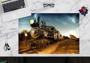 Schreibtischunterlage - Lokomotive schwarz - aus Vinyl
