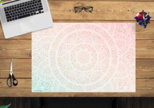 Schreibtischunterlage - Mandala rot-grün - aus Vinyl