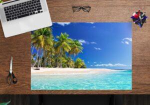 Schreibtischunterlage - Palmen am Meer - aus Vinyl