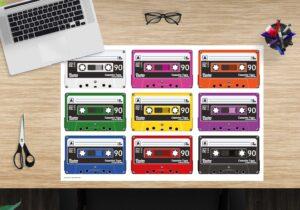 Schreibtischunterlage - Bunte Kassetten - aus Vinyl