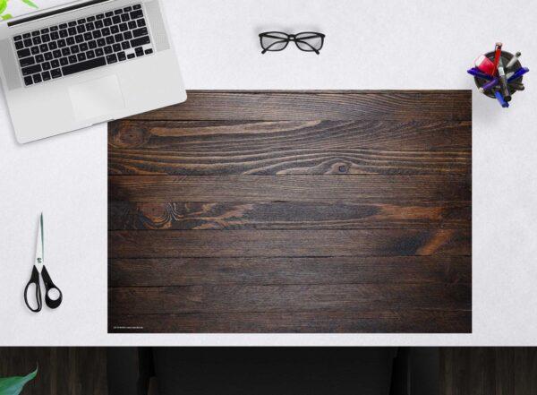 Schreibtischunterlage - Holzoptik dunkelbraun - aus Vinyl