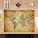 Schreibtischunterlage - Weltkarte vintage - aus Vinyl