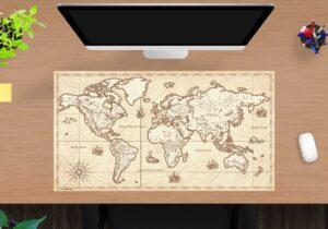 Schreibtischunterlage - Weltkarte retro - aus Vinyl
