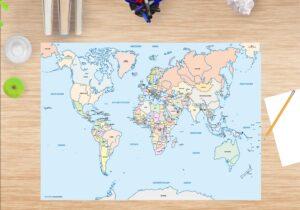 Schreibtischunterlage - Weltkarte Kinder - aus Vinyl
